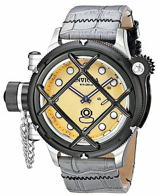 Men's Invicta 16224 Russian Diver Swiss Mechanical Gold Dial Leather Watch