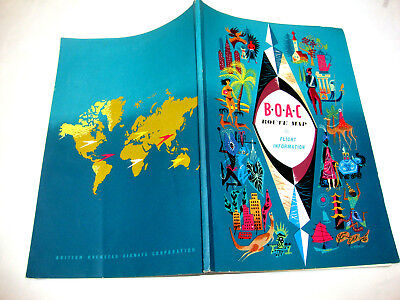 B.o.a.c British Overseas Airways Route Map Flight Information. Brochure