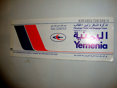 YEMENIA AIR LINES PASSENGER TICKET AND BAGGAGE CHECK. ancien billet DE YEMEN