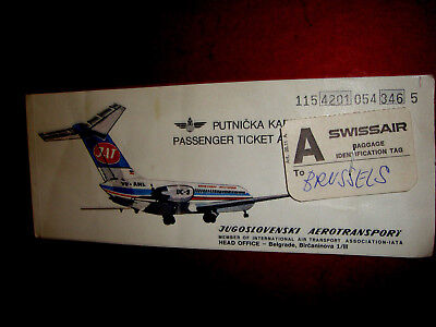 Jat Jugoslovenski Aerotransport Yugoslavia Passenger Ticket And Baggage Check.