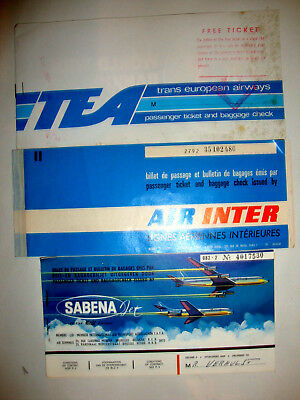 3  PASSENGER TICKET AND BAGGAGE CHECK. 3 ancien billets SABENA +TEA + AIR INTER