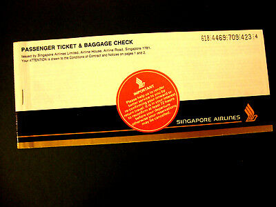 SINGAPORE AIRLINES PASSENGER TICKET AND BAGGAGE CHECK. ancien billet.