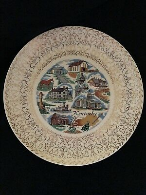 """Vintage Kentucky State Souvenir Plate with Gold Trim, 10 1/4"""" across"""