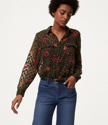 f1ac83b79e925d NWT Ann Taylor LOFT Long Sleeve Floral Utility Top Blouse $59.50 Green NEW