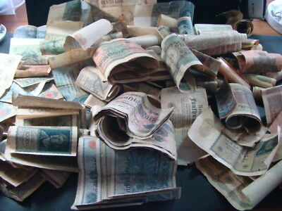 Big Pile Of Mostly German Currency Banknotes From Old WW2 Sock