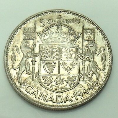1944 Wide Date WD Canada 50 Fifty Cent Half Dollar Circulated Canadian Coin E769