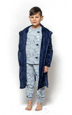 Boys PJS Size 8-14 Winter Coral Fleece Hooded Dressing Gown Robe Navy Blue