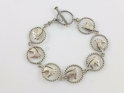 Southwestern Horse Twisted Wire Circle Sterling Link Chain Bracelet  6.5""