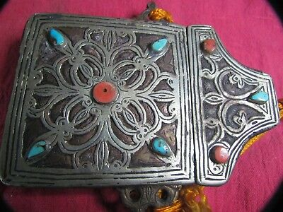 Toureg Koran Case, Silver Clad with Turquoise and Coral - Rare and Unique