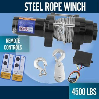 12V Wireless 4500LBS/2041KGS Electric Winch ATV 4WD 15M Steel Rope Boat JY