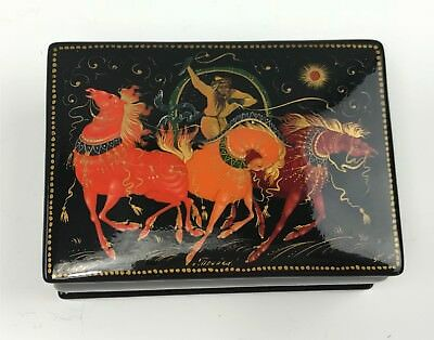Signed Russian Palekh Hand Painted Lacquer Box w/ 3 Spirited Horses