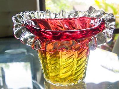 Antique Hand Blown Glass Vase/Bowl - Cranberry Gold & Clear Glass Ruffles C.1900