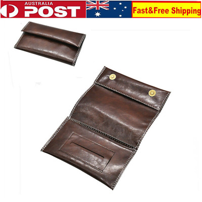 Brown Leather Cigarette Tobacco Pouch Bag Case Rolling Paper Men's Birthday Gift