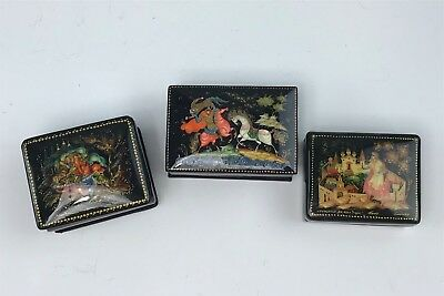 Group 3 Miniature Russian Hand Painted, Signed Lacquer Boxes, Rectangular
