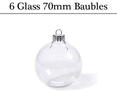 6 Fillable 70mm Clear Glass Ball Christmas Bauble Ornaments