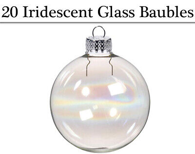 20 Fillable 35mm Iridescent Glass Ball Christmas Bauble Ornaments