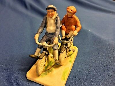 """Norman Rockwell Museum Mini Figurine """"Bicycle Boys"""" Porcelain 1983"""