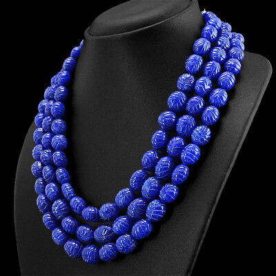 979.50 Cts Earth Mined 3 Strand Oval Carved Rich Blue Sapphire Beads Necklace