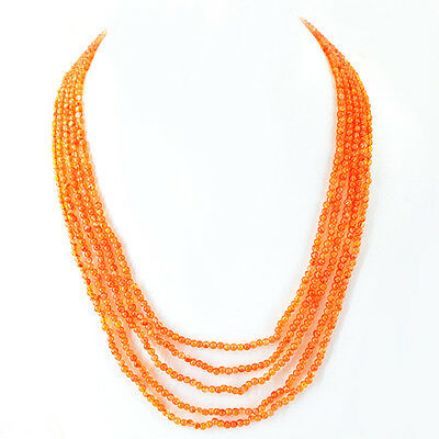 Top Beautiful 160.00 Cts Natural 5 Line Rich Orange Carnelian Beads Necklace
