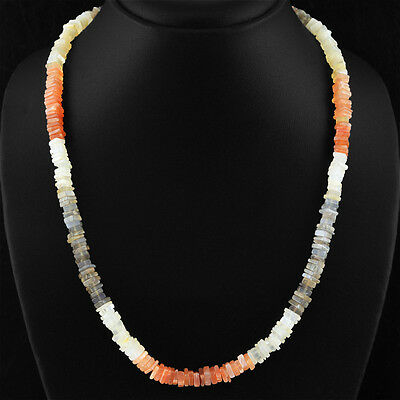 202.50 Cts Natural 20 Inches Long Untreated Multicolor Moonstone Beads Necklace