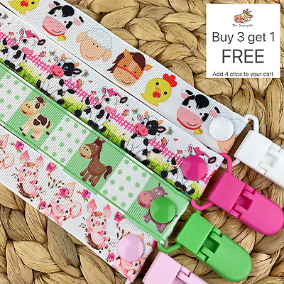 Dummy clip pacifier chain dummie binky baby clips soother holder farm animals