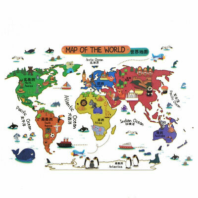 Animal world map wall sticker world map wall decal kids bedroom home living room pvc world map prints diy ornament wall sticker decal mural 60 x 90cm gumiabroncs Images