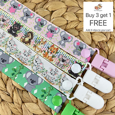 Dummy clip pacifier chain dummie binky baby clips soother holder gift koala pink