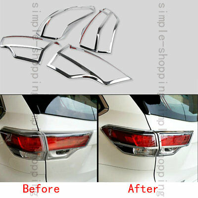 4pcs Chrome Tail Rear Light Lamp Cover Trim Fit for Toyota Highlander 2014-2016
