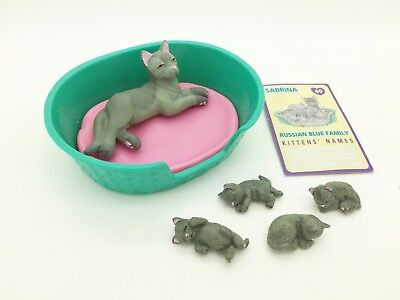 Vintage Kitty In My Pocket UK 49 Sabrina Russian Blue Cat & Babies With Card Wow