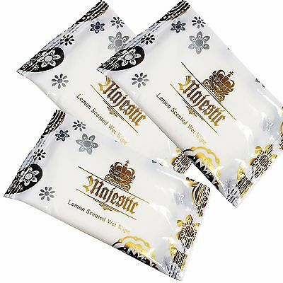 200 x Large Wet Hand Wipes Towels Lemon Scented Hot Cold Individually Wrapped