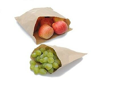 "500 x High Quality  7"" x 7"" Brown Kraft Paper Bags Fruits Sweets Packing Gifts"