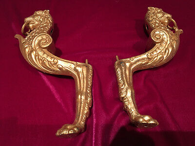 Antique Bronze Ormolu Empire Style Lion paw corner feet leg post mount