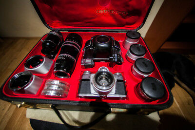 Zeiss Contarex Bullseye 35mm film Camera no scratches- whole set-Mint Condition