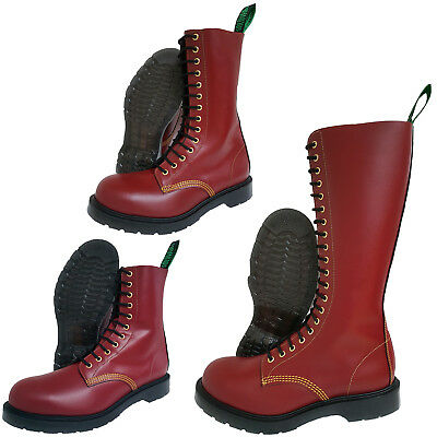 Solovair NPS Southerner Made in England Cherry Red Steel Toe Boots Punk Skinhead