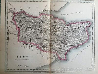 1875 Antique Map;  Cary / Cruchley map of Kent. Orig Outline Colour