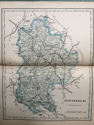1875 Antique Map;  Cary / Cruchley map of Bedfordshire. Early colour