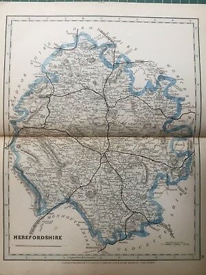 1875 Antique Map;  Cary / Cruchley map of Herefordshire. Orig Outline Colour
