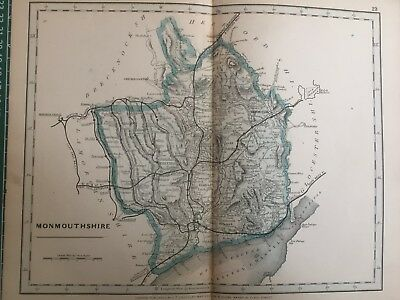 1875 Antique Map;  Cary / Cruchley map of Monmouthshire. Orig Outline Colour