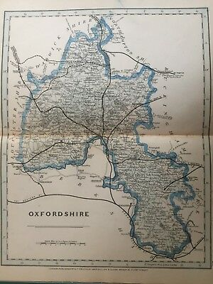 1875 Antique Map;  Cary / Cruchley map of Oxfordshire. Orig Outline Colour