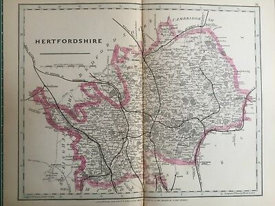 1875 Antique Map;  Cary / Cruchley map of Hertfordshire. Orig Outline Colour