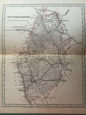 1875 Antique Map;  Cary / Cruchley map of Nottinghamshire. Orig Outline Colour