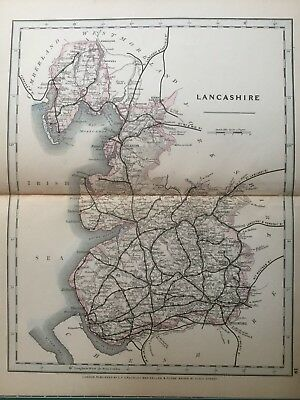 1875 Antique Map;  Cary / Cruchley map of Lancashire. Orig Outline Colour