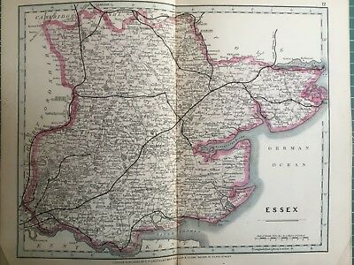 1875 Antique Map;  Cary / Cruchley map of Essex. Orig Outline Colour