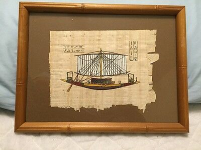 "Vintage Sailing Ship Painting on Rice/Gauze Paper Egyptian? 13 x10"" Frame EXC"