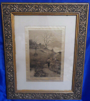 "Antique Vintage Framed 27"" x 22"" Matted Hand Drawn Picture on Silk - Signed"