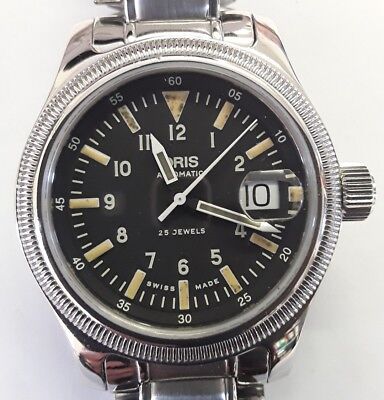 Very Rare Military Style Dial On Oris 7491 Steel Automatic Watch GWO