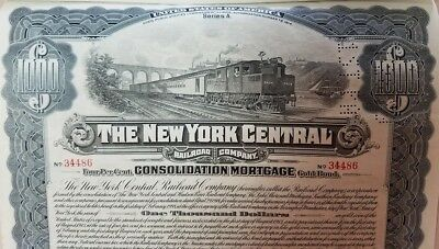 $1000 New York Central Railroad Company 4% Consolidated Mortgage Gold Bond