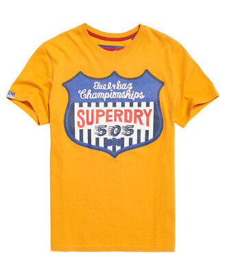 New Mens Superdry Reworked Classic T-Shirt Worn Yellow