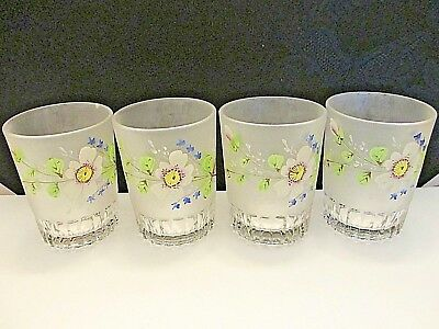 Set Of Four (4) Bohemian Hand Painted Hp Enameled Antique Vintage Glass Tumblers