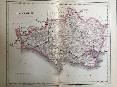 1875 Antique Map;  Cary / Cruchley map of Dorsetshire. Orig Outline Colour